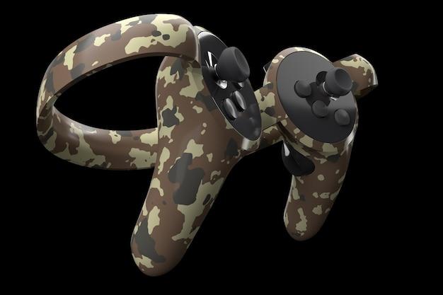 Virtual reality-controllers voor online en cloud-gaming geïsoleerd op zwart met uitknippad. 3d-weergave van apparaat voor augmented reality of vr