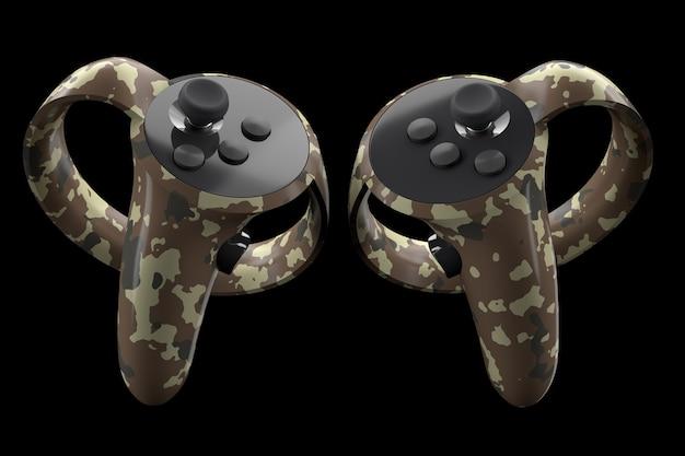 Virtual reality-controllers voor online en cloud-gaming geïsoleerd op zwart