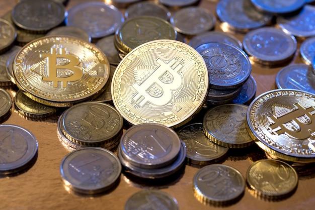 Virtueel geld van cryptografie van gouden bitcoins