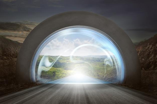Virtuele deur op gatewayboog aan het landschap van ingangsbergen