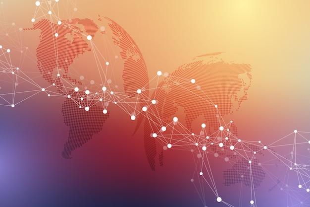 Virtuele grafische achtergrondcommunicatie met wereldbol. gevoel voor wetenschap en technologie. digitale datavisualisatie, illustratie.
