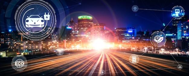Virtuele realiteitsafbeelding voor elektrische auto's op de weg in snel ev-laadstation voor groene energie en eco-energie geproduceerd uit duurzame bron om aan het station te leveren om co2 te verminderen.