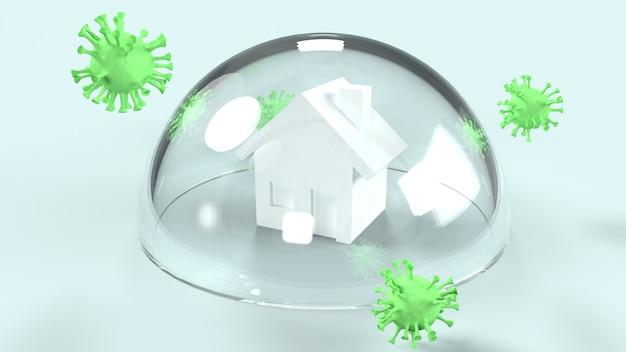 Virus en huis op glazen koepel, 3d-rendering voor werk vanuit huisinhoud.