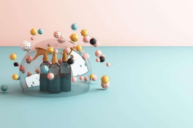 Virus wordt gedood door spray, desinfecterende oplossing, flessenspray omgeven door veel kleurrijke virussen in roze 3d-rendering