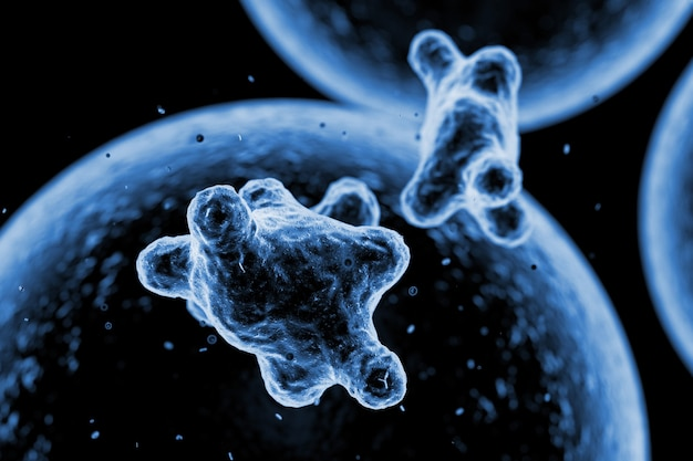 Viruscellen of bacteriën microscopisch bekijk extreme close-up. 3d-rendering