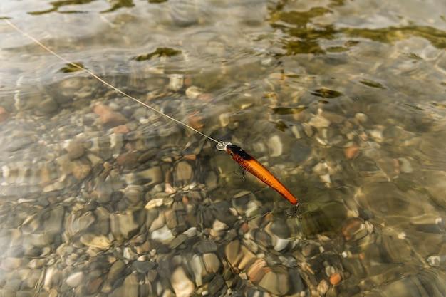 Vissen haken in de rivier