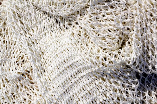 Visserij nieuwe witte netto textuurclose-up