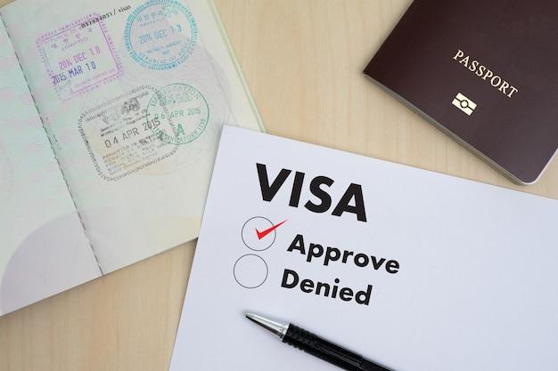 Visumaanvraagformulier om te reizen immigratie een document geld voor paspoortkaart en reisplan