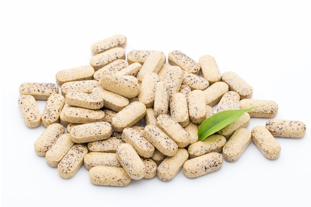 Vitaminecapsules met blad