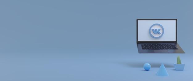 Vk logo minimaal ontwerp voor social media icoon met de laptop kopie ruimte 3d-rendering