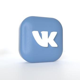 Vk-toepassingslogo met 3d-rendering