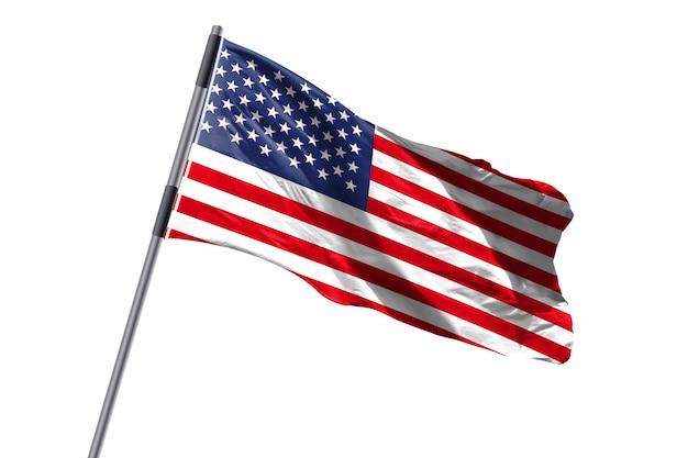 Vlag die van de verenigde staten van amerika de vs tegen wit achtergrondvoorraadbeeld golven