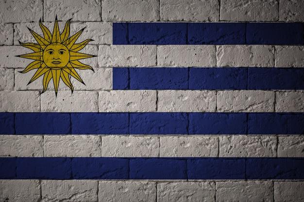 Vlag met originele verhoudingen. close-up van grungevlag van uruguay