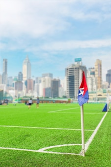 Vlag op de hoek van een voetbalveld