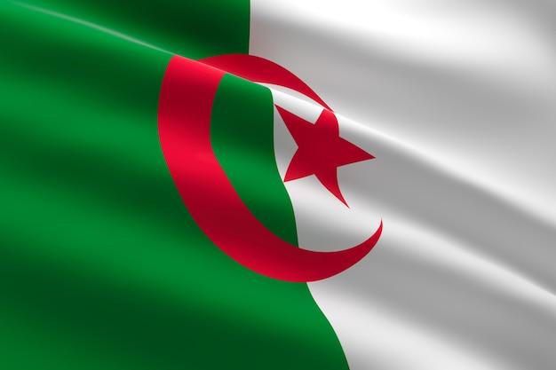 Vlag van algerije 3d-afbeelding van de algerijnse vlag zwaaien