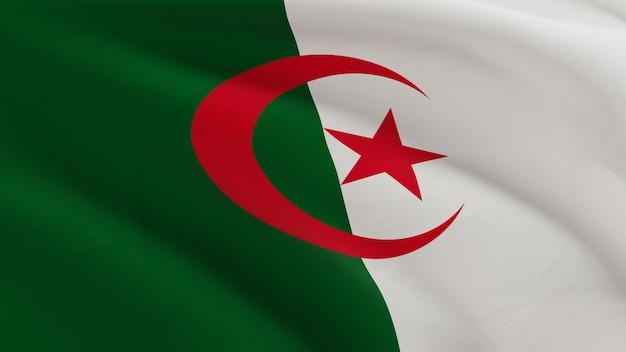 Vlag van algerije zwaaien in de wind, stof micro textuur in 3d kwaliteit renderen