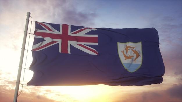 Vlag van anguilla zwaaien in de wind, lucht en zon achtergrond. 3d-rendering.