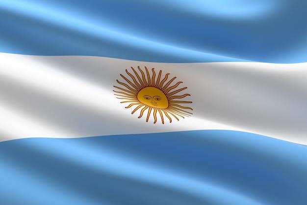 Vlag van argentinië. 3d-afbeelding van de argentijnse vlag zwaaien.