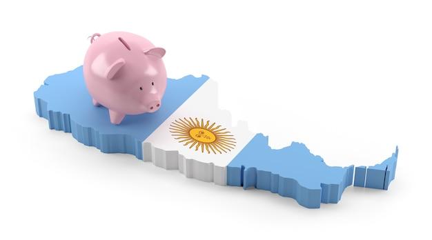 Vlag van argentinië kaart op piggy bank. 3d illustratie