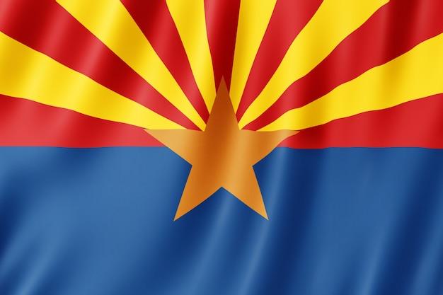 Vlag van arizona, amerikaanse staat. 3d illustratie van de arizona vlag zwaaien.