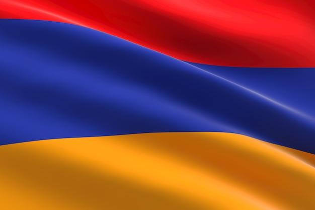Vlag van armenië 3d-afbeelding van de armeense vlag zwaaien