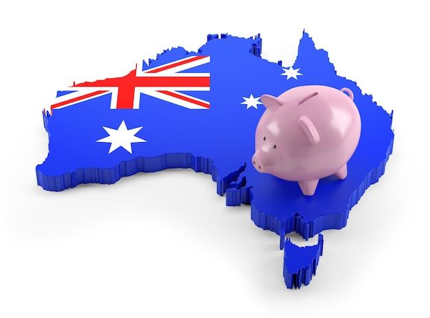 Vlag van australië kaart op piggy bank. 3d illustratie