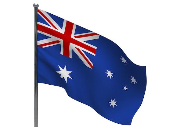 Vlag van australië op paal. metalen vlaggenmast. nationale vlag van australië 3d illustratie op wit
