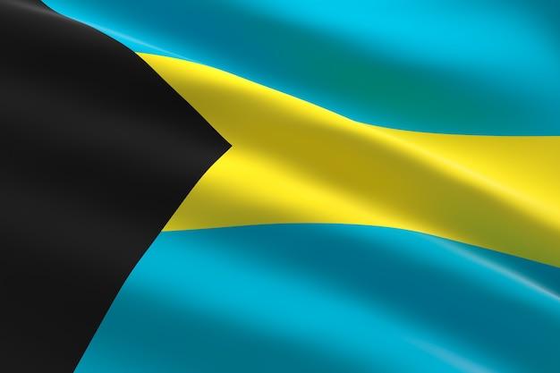 Vlag van bahama's. 3d-afbeelding van de bahamaanse vlag zwaaien