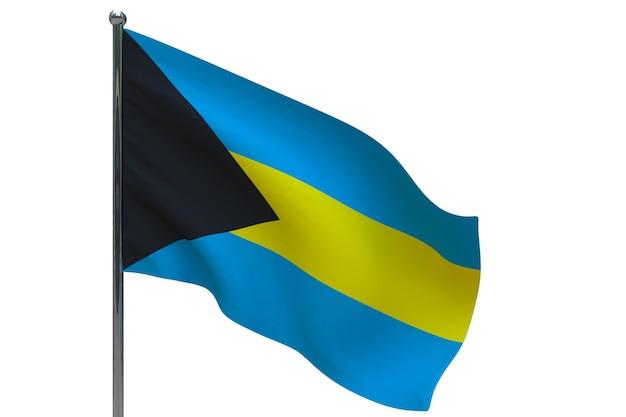 Vlag van bahama's op paal. metalen vlaggenmast. nationale vlag van bahama's 3d illustratie op wit