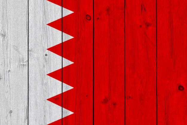 Vlag van bahrein geschilderd op oude houten plank