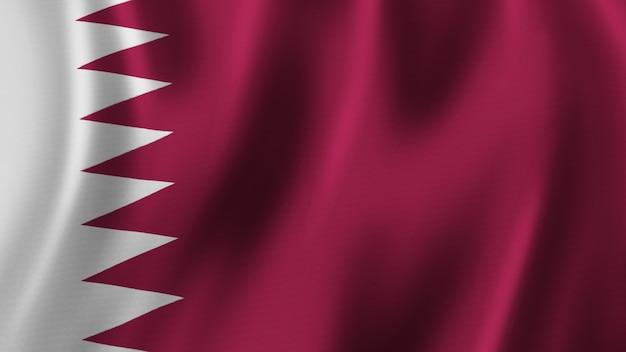 Vlag van bahrein zwaaien close-up 3d-rendering met afbeelding van hoge kwaliteit met stof textuur