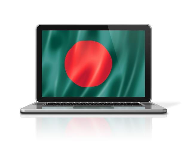 Vlag van bangladesh op laptop scherm geïsoleerd op wit. 3d illustratie geeft terug.