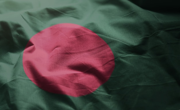 Vlag van bangladesh verkreukelde close-up