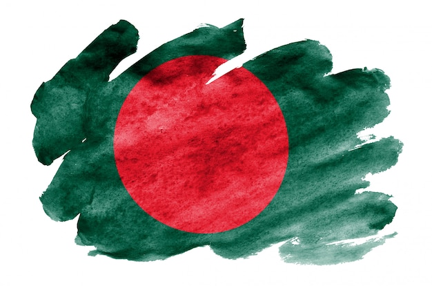 Vlag van bangladesh wordt afgebeeld in vloeibare aquarelstijl geïsoleerd op wit