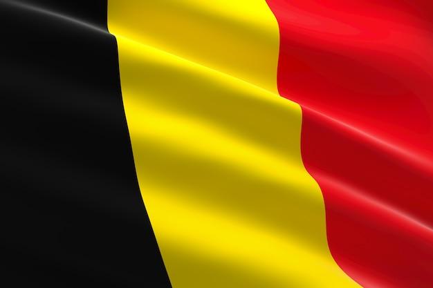 Vlag van belgië 3d-afbeelding van de belgische vlag zwaaien