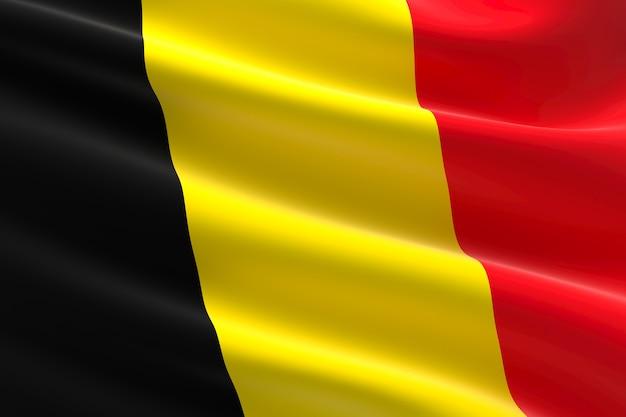 Vlag van belgië. 3d-afbeelding van de belgische vlag zwaaien.