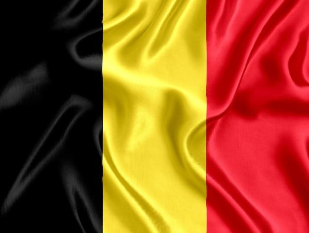 Vlag van belgië zijde close-up achtergrond