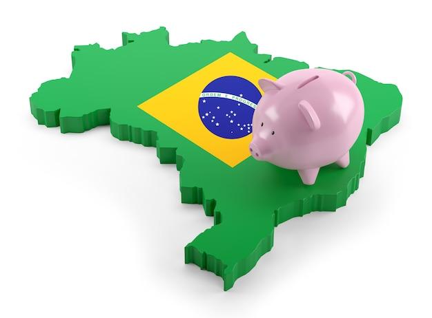 Vlag van brazilië kaart op spaarvarken. 3d illustratie