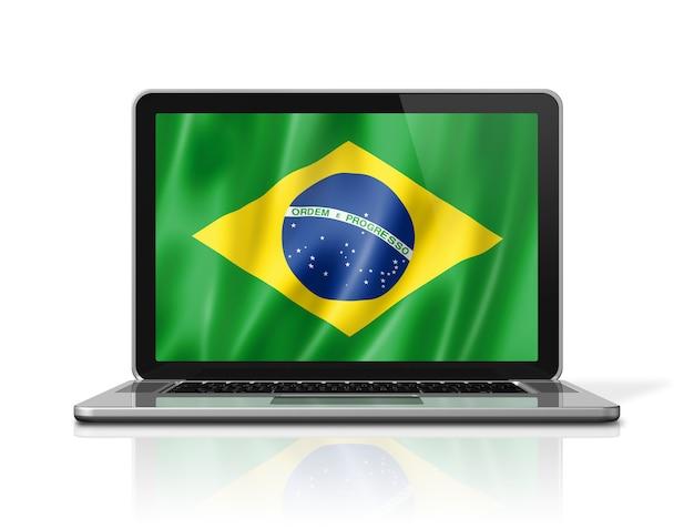 Vlag van brazilië op laptop scherm geïsoleerd op wit. 3d illustratie geeft terug.