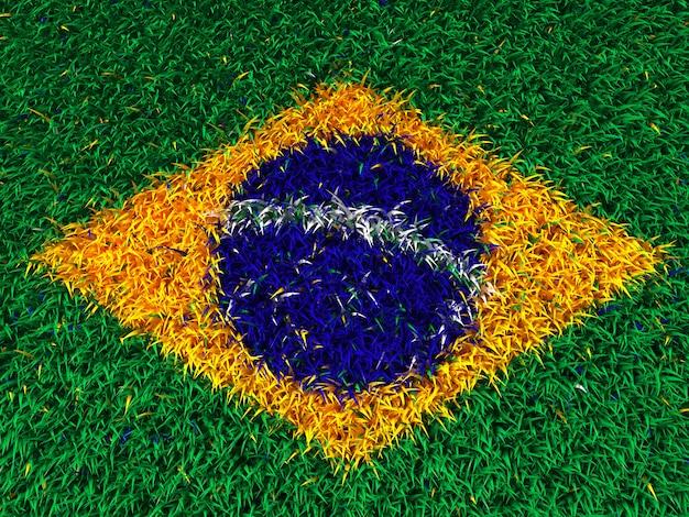 Vlag van brazilië van gras