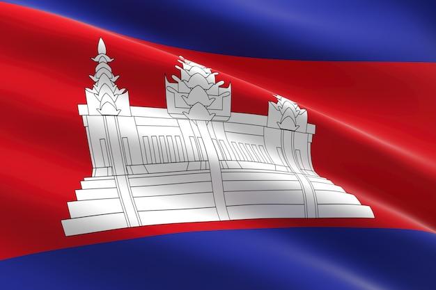 Vlag van cambodja 3d-afbeelding van de cambodjaanse vlag zwaaien