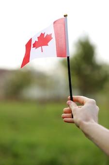 Vlag van canada, nationaal symbool wuivende tegen, zonnige dag. vlag van canada in de hand van de vrouw. selectieve aandacht