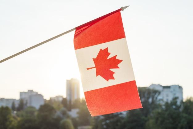 Vlag van canada vanuit venster