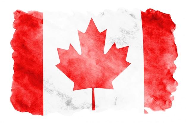 Vlag van canada wordt afgebeeld in vloeibare aquarelstijl geïsoleerd op wit
