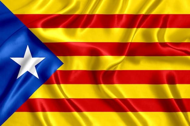 Vlag van catalonië zijde close-up achtergrond
