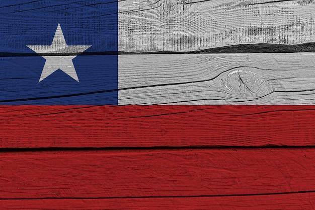 Vlag van chili geschilderd op oude houten plank