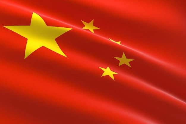 Vlag van china. 3d-afbeelding van de chinese vlag zwaaien