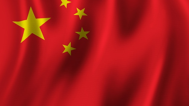 Vlag van china zwaaien close-up 3d-rendering met afbeelding van hoge kwaliteit met stof textuur