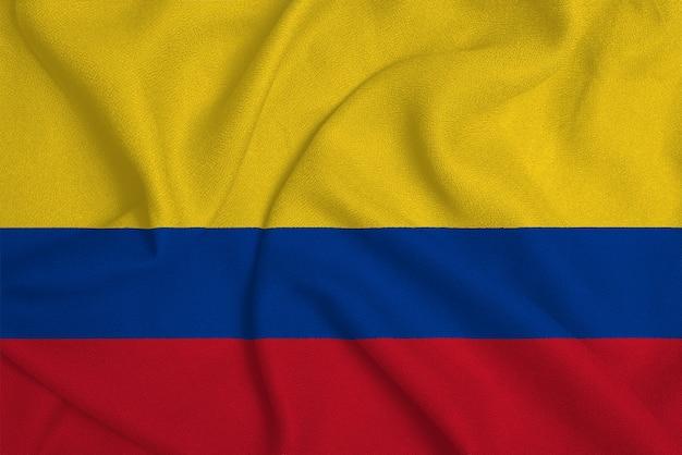 Vlag van colombia uit de fabriek gebreide stof. achtergronden en texturen