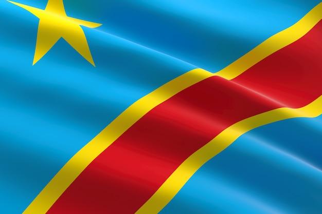Vlag van congo. 3d-afbeelding van de congolese vlag zwaaien